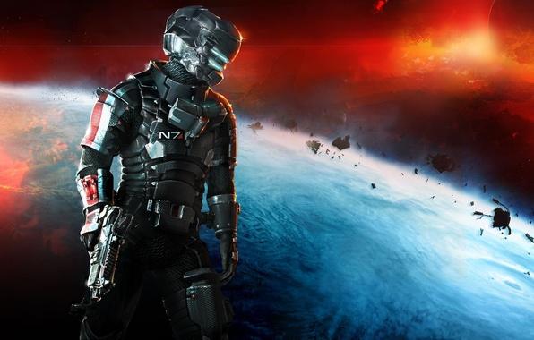 Картинка космос, оружие, планета, Айзек Кларк, Mass Effect 3, Electronic Arts, DLC, Dead Space 3, Isaac …