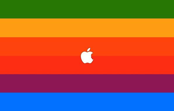 Картинка знак, краски, apple, минимализм, colors, лого, logo, minimalism, sign, бренд, brand, 2560x1600, steve jobs