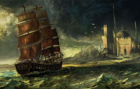 Картинка море, город, корабль, парусник, арт, купол, Waqas Mallick