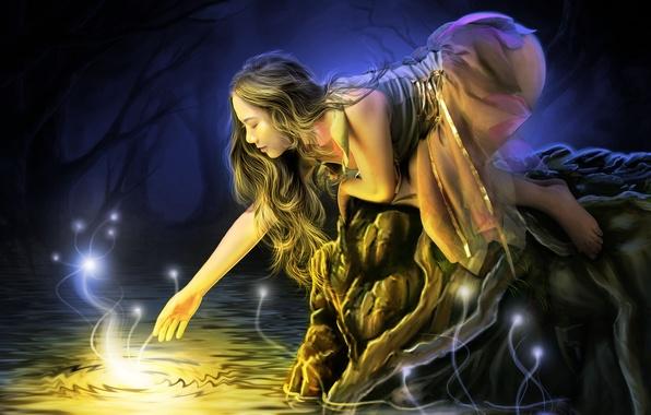 Картинка вода, девушка, свет, деревья, лицо, огоньки, платье, профиль, длинные волосы, тянется