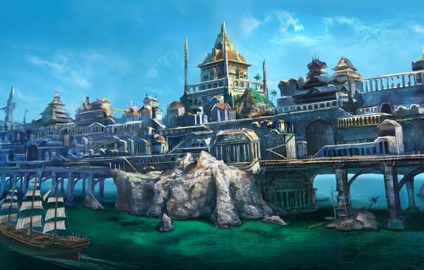 Картинка море, пейзаж, мост, город, скалы, корабль, чайки, дома, парусник, арт, arvalis