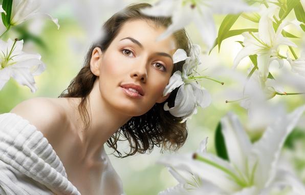 Картинка девушка, цветы, лилии, портрет, цветник