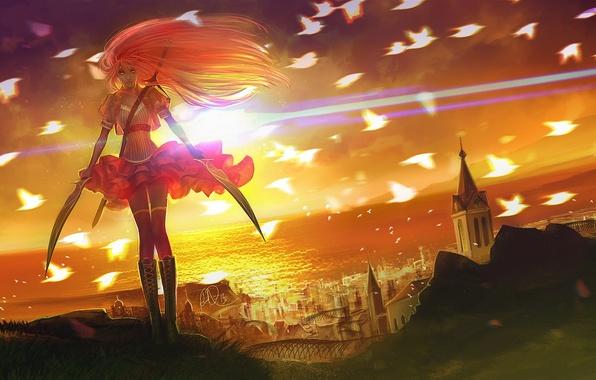 Картинка девушка, солнце, закат, птицы, город, оружие, океан, арт, мечи, anndr