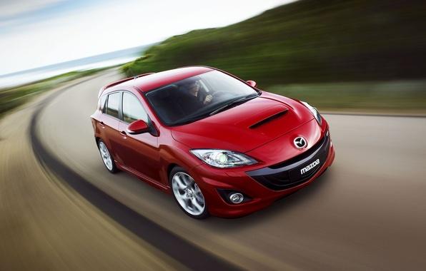 Картинка дорога, красный, Мазда, Mazda