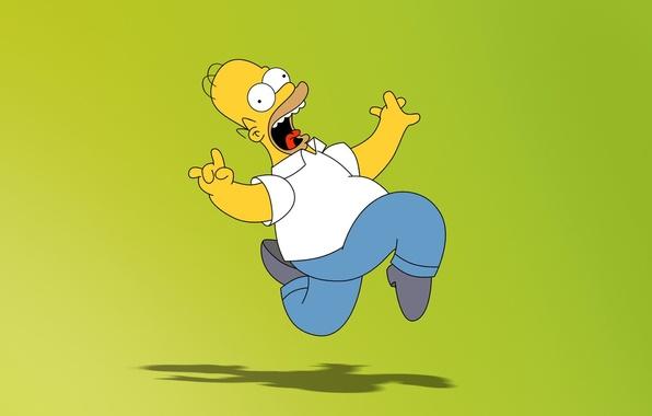 Картинка зеленый, мультфильм, Симпсоны, Гомер