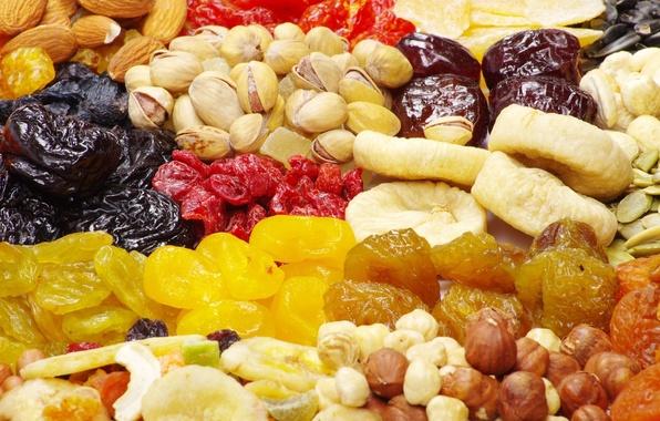 Картинка еда, орехи, семечки, миндаль, фундук, изюм, фисташки, инжир, курага, сухофрукты, чернослив, полезная