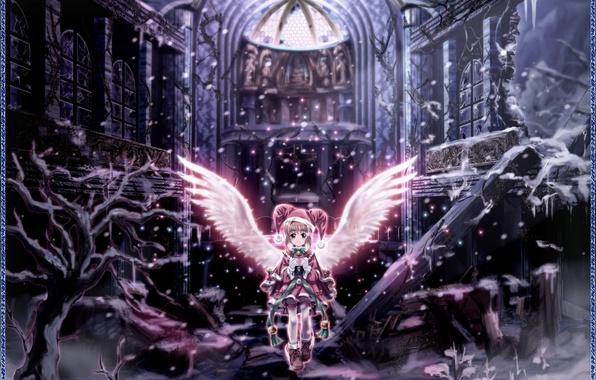 Картинка зима, девушка, ангел, аниме, развалины, Card Captor Sakura