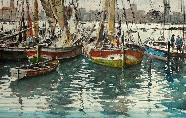 Картинка картина, яхты, лодки, акварель, парус, гавань, морской пейзаж, Максимилиан Дамико