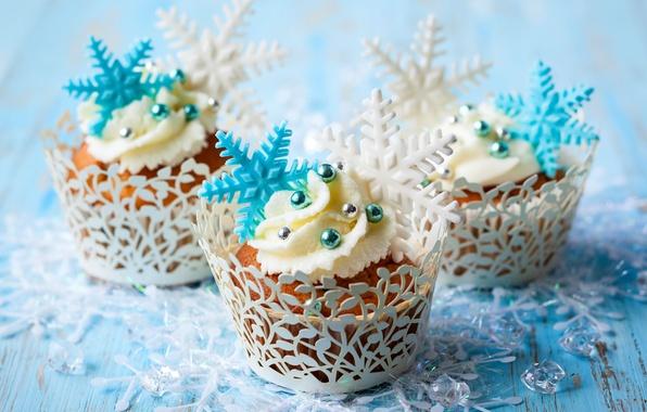 Картинка зима, снежинки, еда, торт, cake, крем, десерт, food, winter, сладкое, sweet, cupcake, кексы, cream, dessert, …