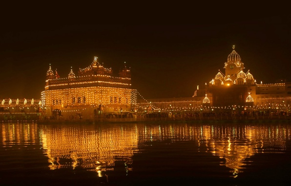 Картинка ночь, огни, Индия, Амритсар, Золотой храм, Пенджаб, фестиваль света