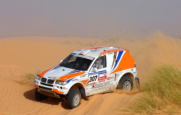 Картинка Песок, BMW, Пустыня, Машина, Гонка, 307, Rally, Dakar, Дакар, Внедорожник, Ралли