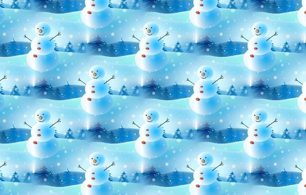 Фото обои Новый год, текстура, фон, настроение, праздник, снежинка, снеговик