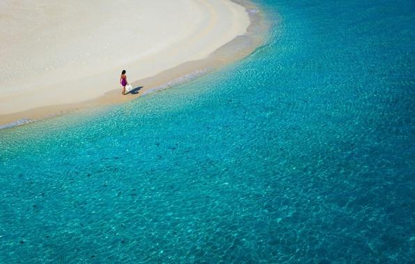 Картинка море, пляж, лето, вода, девушка, отдых, побережье