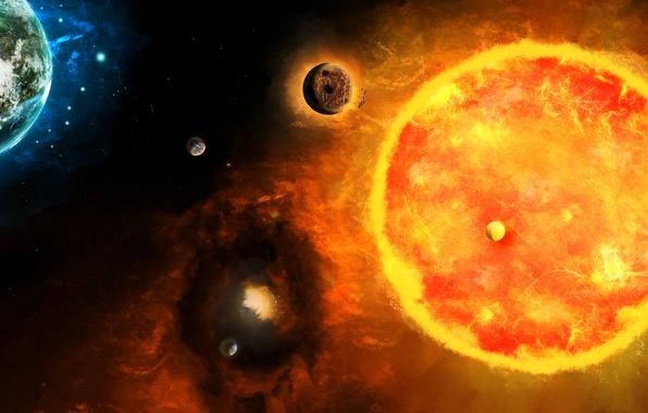Картинка небо, свет, вселенная, звезда, планета, спутник