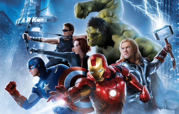 Картинка Scarlett Johansson, Girl, Heroes, Hulk, Iron Man, Wallpaper, Bruce, Captain America, Team, Thor, Black Widow, …