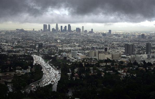 Картинка небо, здания, тучки, Los Angeles, лос анджелес