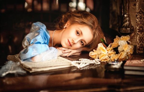 Картинка девушка, ретро, платье, Diana lipkina
