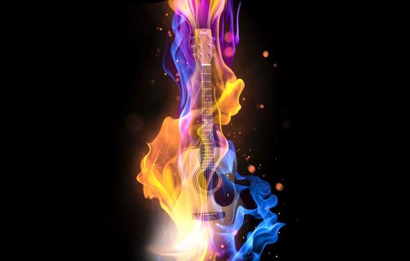 Картинка музыка, огонь, гитара, бас, бас-гитара