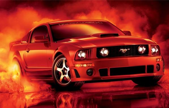 Картинка красный, отражение, тюнинг, дым, mustang, мустанг, ford, диски, форд, tuning, передок, Muscle car, Мускул кар, …
