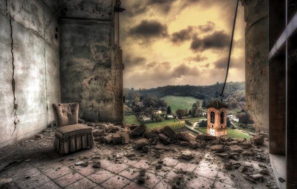 Картинка комната, стена, вид, кресло