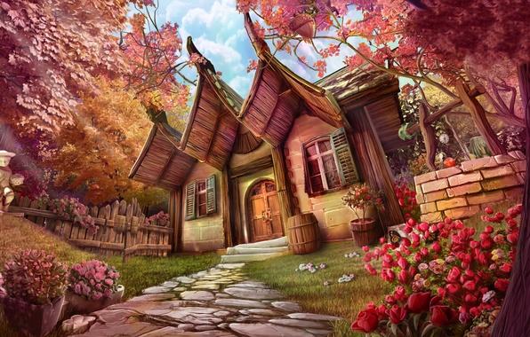 Картинка лето, цветы, арт, домик