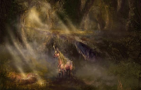 Картинка лес, свет, конь, чаща, фэнтези, арт, единорог