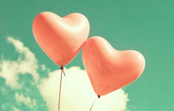 Картинка небо, облака, любовь, воздушные шары, сердце, love, sky, heart, clouds, balloons