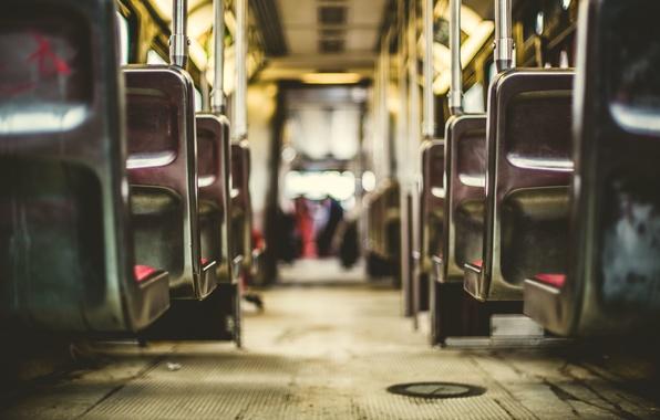 Картинка транспорт, кресла, пол, поручни, трамвай, салон