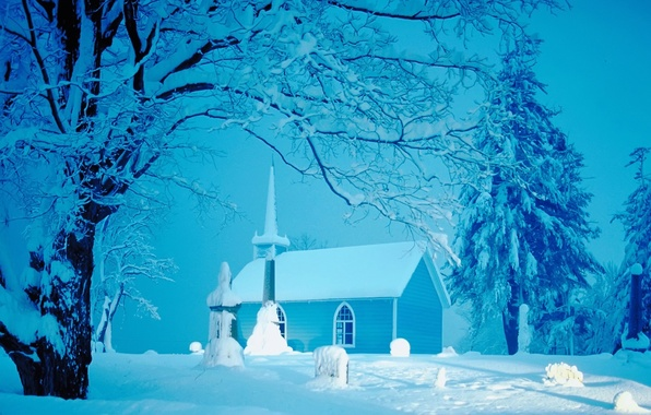 Картинка зима, снег, церковь, домик, ёлки