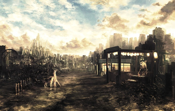Картинка дорога, будущее, робот, собака, зонт, арт, девочка, руины, постапокалипсис, Future, ruins, предприимчивый