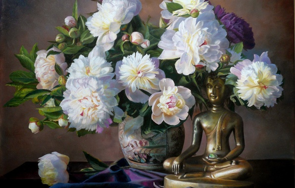 Картинка цветы, букет, картина, лепестки, ваза, статуэтка, натюрморт, будда, пионы, Zbigniew Kopania