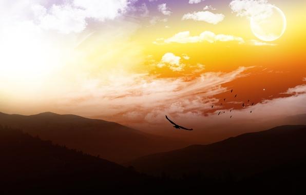 Картинка небо, горы, птицы, moon, sky, mountains, view, heaven, clouds, landscapes, luna, бомбовский вид, шикарнейший пейзаж, …