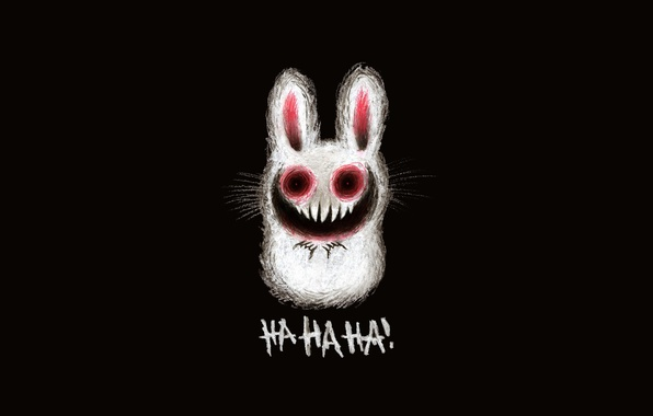 Картинка рисунок, заяц, смех, зубы, зловещий заяц