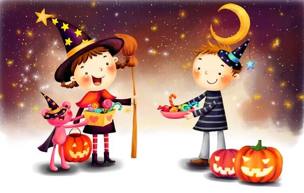 Картинка фантазия, луна, рисунок, звёзды, мальчик, девочка, тыквы, леденцы, косички, метла, плащ, хэллоуин, улыбки, шляпы, костюмы, …