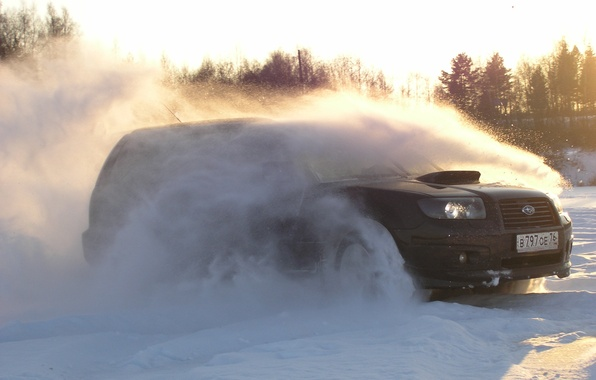 Картинка Солнце, Subaru, Снег, Лучи