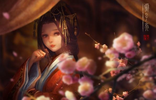 Картинка девушка, цветы, лепестки, сакура, кимоно, шторы, заколки, цифровая живопись