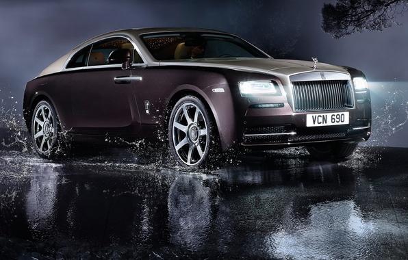 Картинка авто, свет, фары, Rolls-Royce, роскошь, роллс-ройс, Wraith