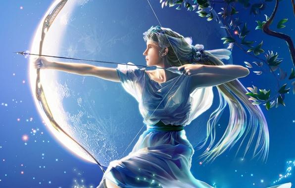 Фото обои луна, рисунок, лук, Стрелец