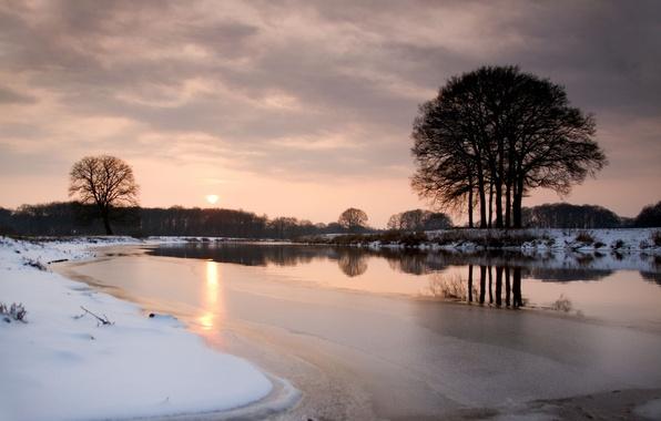 Картинка лед, зима, снег, деревья, закат, река, вечер