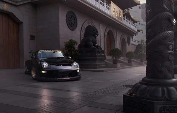 Картинка Porsche, Car, Race, Front, Black, Carrera, 993, RWB