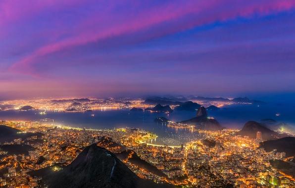 Картинка закат, lights, огни, корабли, лодки, залив, Бразилия, sunset, Рио-де-Жанейро, boats, Brazil, Rio de Janeiro, ships, …