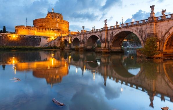 Картинка мост, огни, река, Рим, Италия, Тибр, замок Святого Ангела