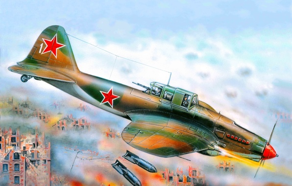 Картинка самолет, арт, летающий танк, штурмовик, самый, боевой, под, ВОВ, созданный, советский, ВВС СССР, Ил-2, WW2., …