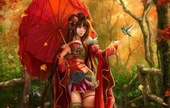 Картинка осень, листья, девушка, украшения, птицы, зонтик, зонт, перья, арт, sunmomo