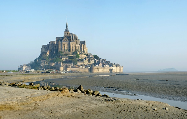 Фото обои город, Франция, island, Normandy, monastery, Mont Saint Michel