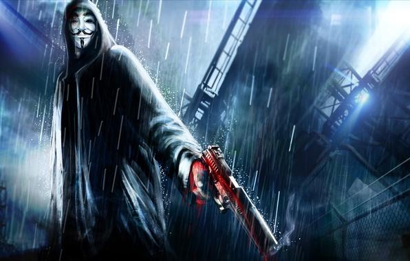 Картинка ночь, город, пистолет, оружие, дождь, арт, капюшон, v for vendetta, Anonymous, Анонимус