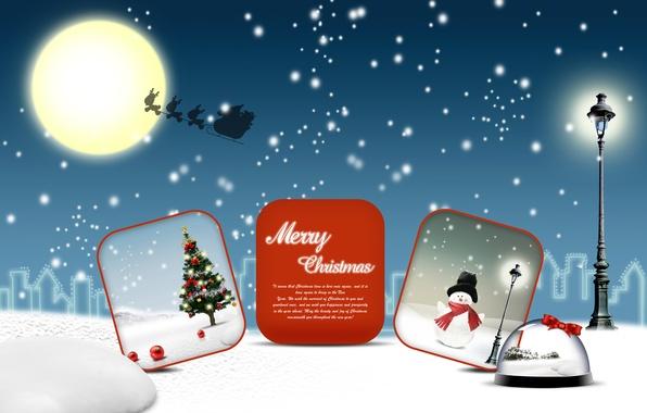 Картинка снег, луна, vector, елка, новый год, вектор, Рождество, снеговик, moon, new year, Christmas, snow, snowman, …
