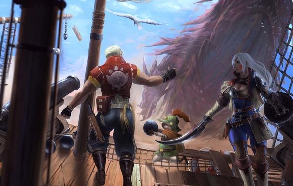 Картинка девушка, дракон, корабль, монстр, арт, мужчина, палуба