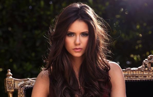 Картинка взгляд, девушка, милая, волосы, брюнетка, красивая, Nina Dobrev, Нина Добрев, милашка, brown eyes, beautiful, women, …
