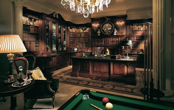 Картинка стиль, стол, шары, мебель, книги, лампа, интерьер, кресло, бильярд, кабинет, столик, interior, класика, office, private, …